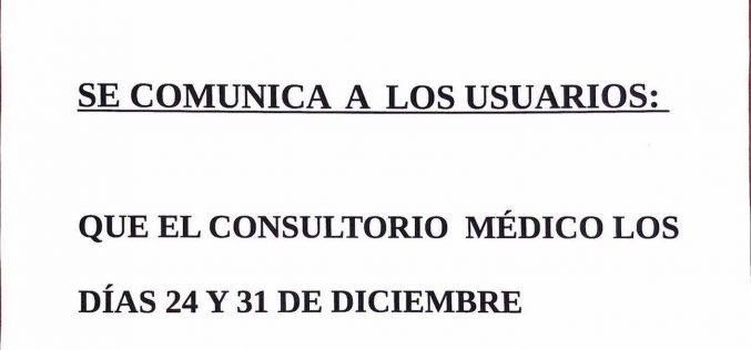 Aviso consultorio médico